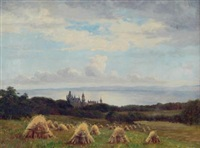 knowsley looking towards liverpool and dunrobin castle (pair) by james hey davies