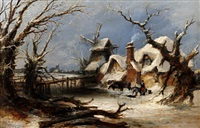 winter landscape with figures before a cottage and windmill in snow by charles branwhite