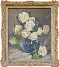 still life with camellias by ernest william buckmaster