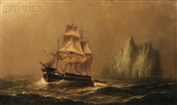 arctic rescue scene with newfoundland and iceberg by elbridge wesley webber