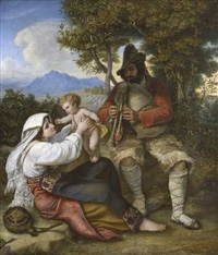 italienische hirtenfamilie by louis (julius ludwig) asher
