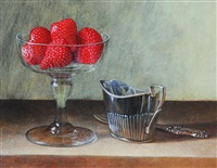 still life with strawberry comport, cream jug and fork by tim gustard