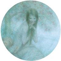 jeune fille près d'un lac by lucien boulier