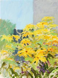 stil life with yellow flowers by per flemming