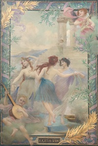 danse antique (for tapestry) by edouard-marie-guillaume dubufe