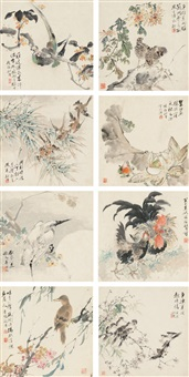 花卉禽鸟册 (flowers and birds) (album of 8) by hu tiemei