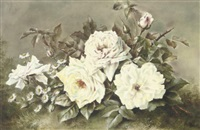 still life with white roses (+ still life with pansies; pair) by lillian gertrude smith