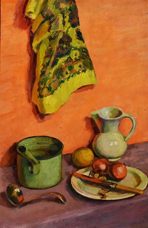 still life with the white jug by duncan grant