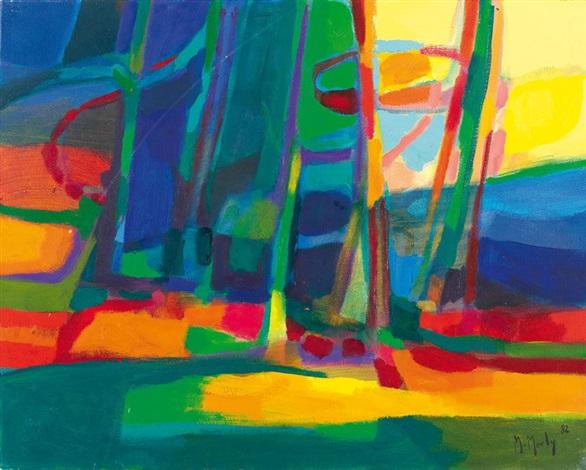 forêt au ciel jaune by marcel mouly
