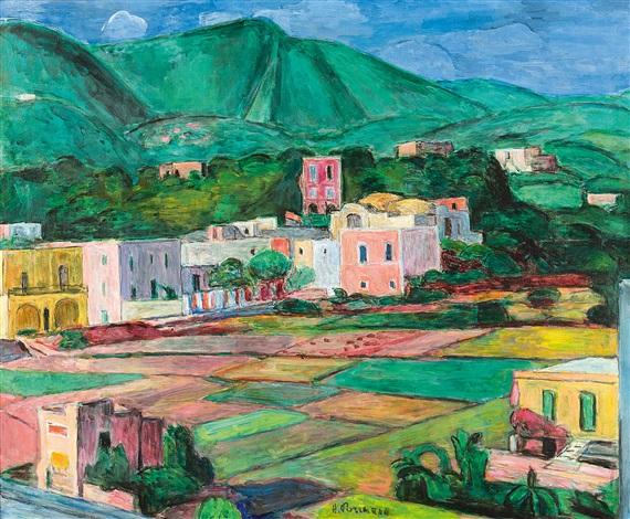 landschaft auf ischia mit monte epomeo by hans purrmann