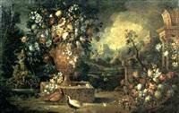 fiori in un vaso, fiori in una cesta e due fagiani in un giardino by vittorio amedeo rapous
