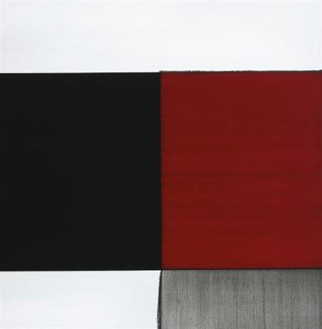 exposed painting cadmium red palevine black by callum innes