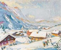 winterlandschaft mit bergdorf by martin lindenau