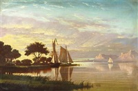 luminous sunset with sailboats by fortunato arriola
