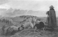 schäfer mit herde in hügellandschaft by wilhelm altheim