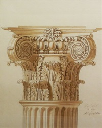 capital, a 1/4 size, arch of septimius and study of a capital (2 works) by joseph michael gandy