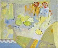 bodegón con limones y amapolas. amarillo y rojo by jose luis de antonio