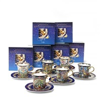 12 christmas annual cups with matching saucers (set of 12) by bjørn wiinblad