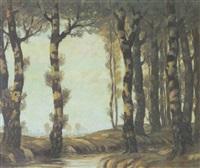 schattiger birkenhain am bach by karl rehm