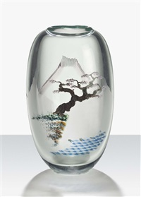 plum tree, fuji stream, a vase by mark c. peiser