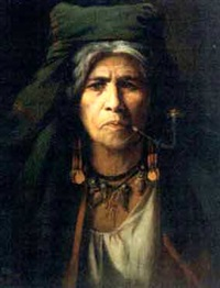 a native american woman smoking a pipe by adolf müllner