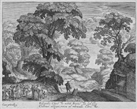 landschaft mit der heilung des blinden (after joos van lier) by hendrik hondius the elder