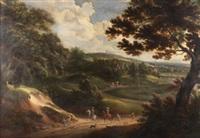 paisaje con figuras by adam frans van der meulen