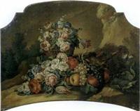 rose, tulipani ed altri fiori in un cesto con uve, pesche e fiori en plein air (+ rose, garofani, peonie ed altri fiori in un vaso di vetro con uve e pesche in una coppa di vetro en plein air; 2 works by vittorio amedeo rapous