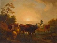 bauer mit kind und ein vornehmer reiter und vieh im abendlicht by friedrich karl joseph simmler