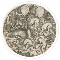 un ours attaqué par cinq chiens (after sandro botticelli) by baccio baldini