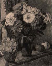 still life with flowers in a vase and apples on a table by elise daimler