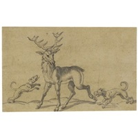 a stag and two hounds by virgil solis