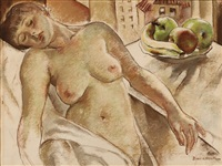 nude with bowl of fruit by robert brackman