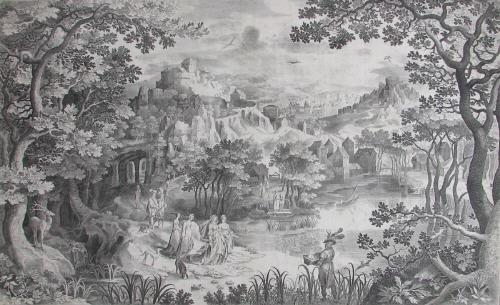 landschaft mit der auffindung des mosesknaben after gillis van coninxloo by nicolaes de bruyn