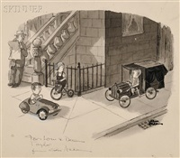 sidewalk hearse by charles addams