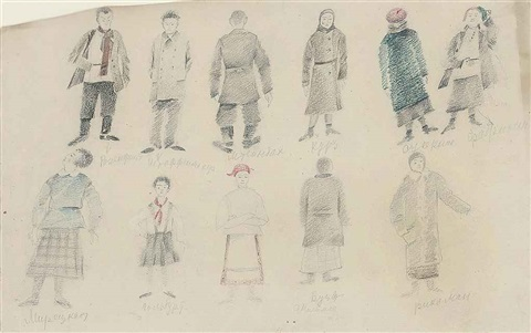 costume designs for nit gedaiget by aleksandr grigorevich tyshler