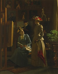 in the artist's studio by frederik (johan frederik nikolai) vermehren
