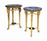 a pair of louis xvi style giltwood and marble top gueridons by anonymous-french (20)