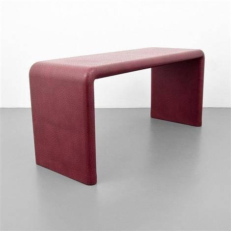 Karl Springer Curved End Leather Console Table By Karl Springer