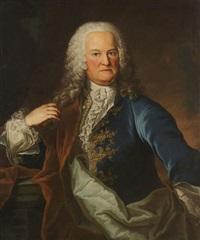 portrait d'un homme noble vêtu d'une veste de velours bleu brodé d'or et d'un col en dentelle près d'un vase au parc by f. linden
