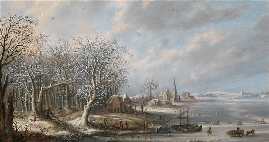 winterlandschaft mit einer stadt und einem zugefrorenen gewässer by robert van den hoecke