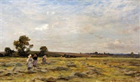 haymaking in a landscape by james aumonier