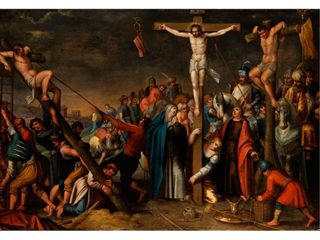 christus am kreuz auf golgatha mit den beiden schächern und assistenzfiguren by frans francken the younger