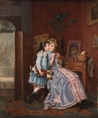 junges mädchen sieht seiner mutter beim häkeln zu by eugène accard