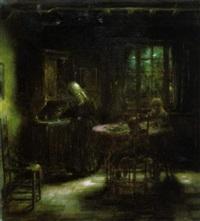 interieur met moeder en twee kinderen aan tafel by herman jacobs
