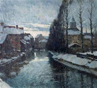 vue de la binnennete à lierre en hiver by jules verstreken
