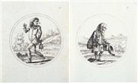 caricatura di uomo in maschera con campanello (+ caricatura di mendicante; 2 works) by gaetano piccini