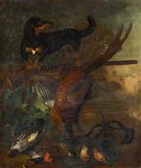 jagdhund mit erlegten singvögeln und einem fasan by dirk valkenburg