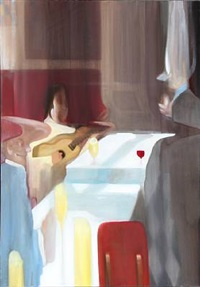scene from restaurant with three people by junior toscanelli