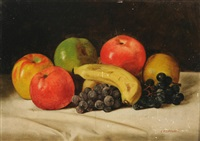 still life with apples, grapes and banana by louis p. spinner